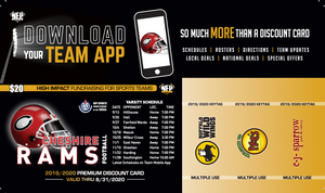 Cheshire Rams Football Premium Discount Card 2019 - NFP Sports CT East