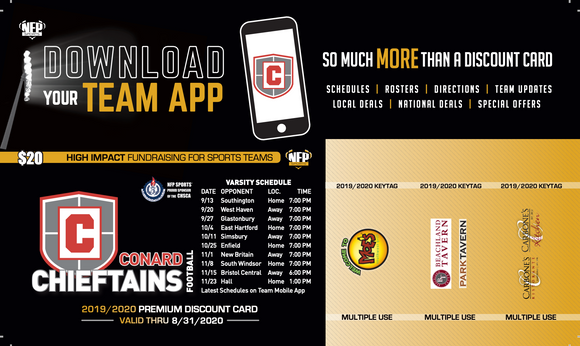 Conard Chieftains Football Premium Discount Card 2019 (Seniors/Juniors) - NFP Sports CT East