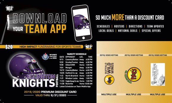 Ellington Knights Football Premium Discount Card 2019 - NFP Sports CT East