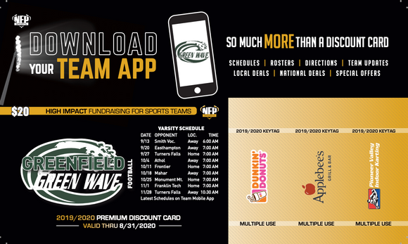 Greenfield Green Wave Football Premium Discount Card 2019 - NFP Sports CT East