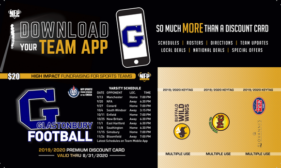 Glastonbury Football Premium Discount Card 2019 - NFP Sports CT East