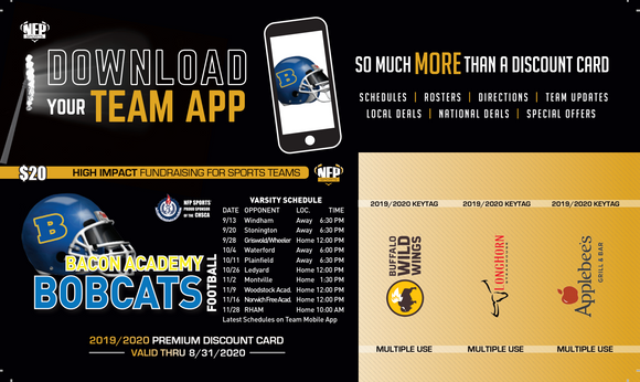 Bacon Academy Football Premium Discount Card 2019 - NFP Sports CT East