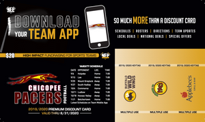 Chicopee Pacers Football Premium Discount Card 2019 - NFP Sports CT East