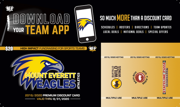 Mt. Everett Eagles Volleyball Premium Discount Card 2019 - NFP Sports CT East