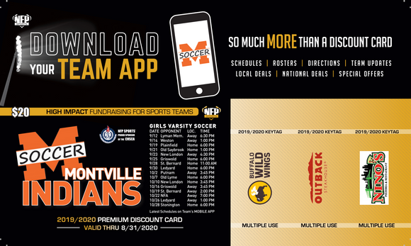 Montville Indians Girls' Soccer Premium Discount Card 2019 - NFP Sports CT East