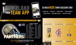 Platt Panthers Football Premium Discount Card 2019 - NFP Sports CT East