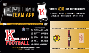 Killingly Football Premium Discount Card 2019 - NFP Sports CT East