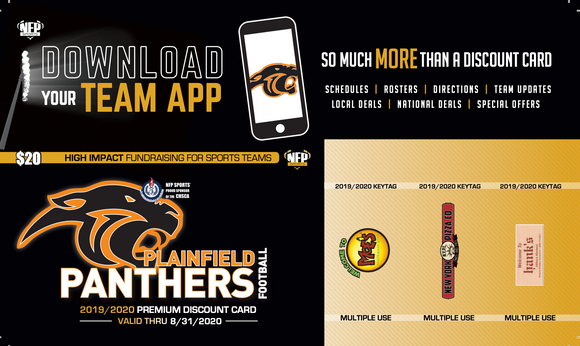 Plainfield Panthers Football Premium Discount Card 2019 - NFP Sports CT East