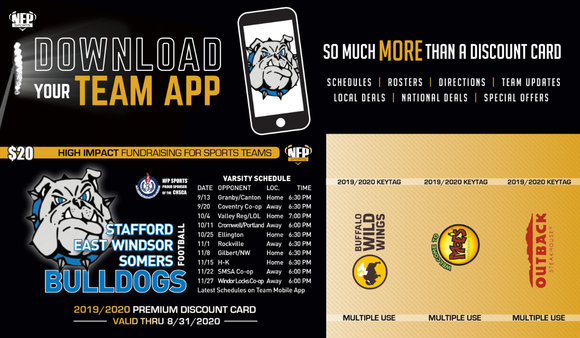 Bulldogs Football 2019 Premium Discount Card - NFP Sports CT East