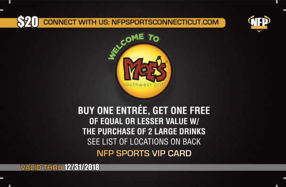Ledyard Middle School Athletics Moe's Southwest Grill VIP Card - NFP Sports CT East