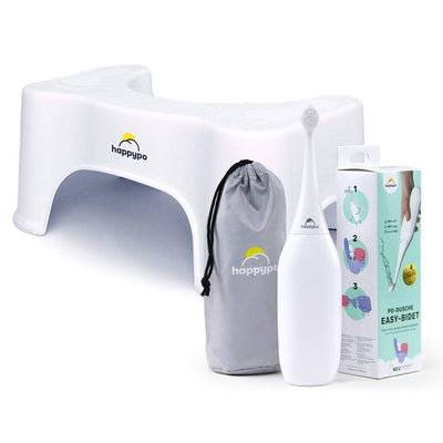 HappyPo Po-Power-Bundle (Po-Dusche + Toilettenhocker) Dusche in Weiß