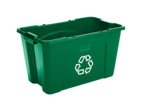Rubbermaid 571873GRN  Recycling Tote, Rectangular, Green
