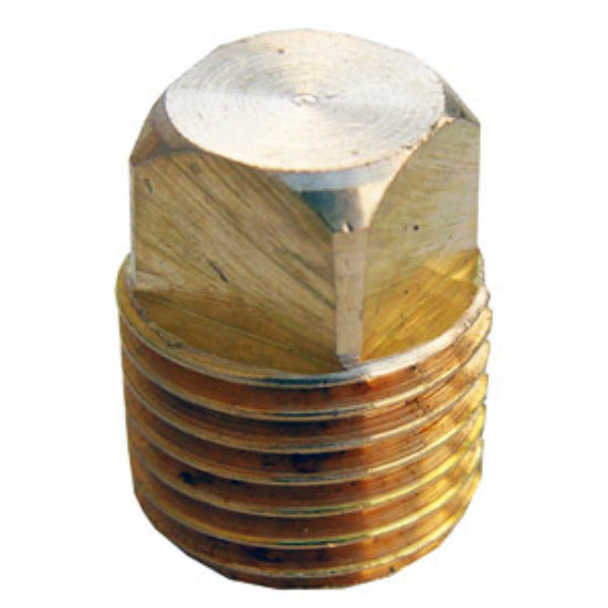 "Lasco 17-9175 Lead Free Square Head Plug, Brass, 1/4"" MPT"
