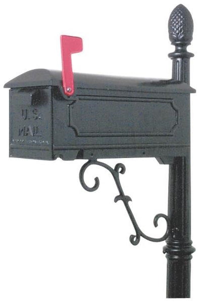 Gibraltar CAR100B0 Cast Aluminum Mailbox And Post Combo, Black
