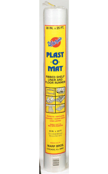 "Warp's PM25-P Plast-O-Mat® Ribbed Shelf Liner & Floor Runner, Clear, 30"" x 25'"