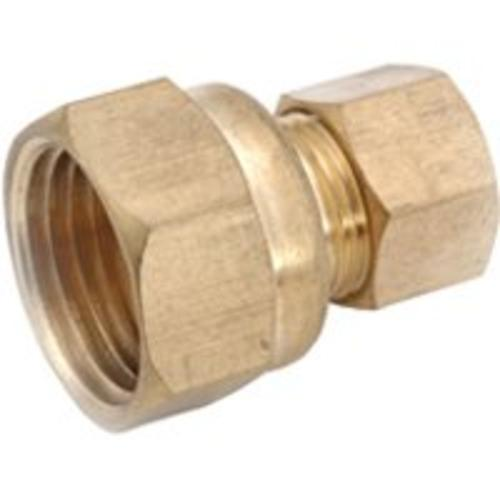 "Anderson Metals 750066-0504 Brass Compression Fitting Coupling, 5/16"" x 1/4"""
