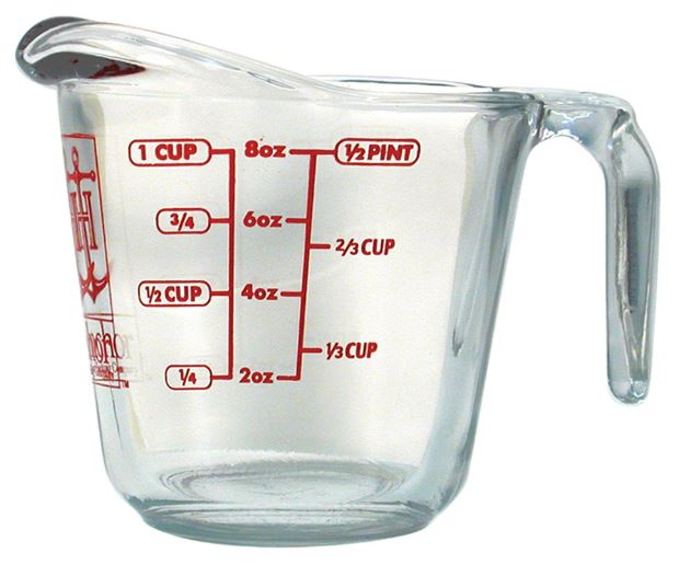 Anchor Hocking 4901 Measuring Cup, Glass, 8 Oz