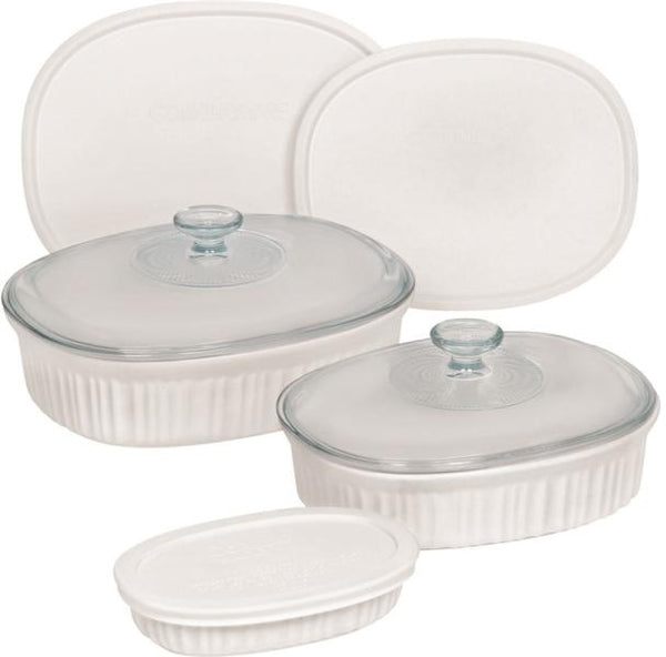 CorningWare 1117221 Bakeware Set, French White, Set of 8