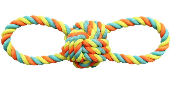 Chomper WB15522 Rope Ball Tug Dog Toy, Assorted Colors