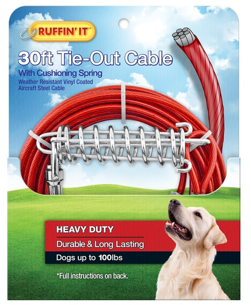 Westminster Pet 7N29230 Ruffin' It Tangle-Resistant Tie-Out Cable, Galvanized Cable, Vinyl-Coated, 30'