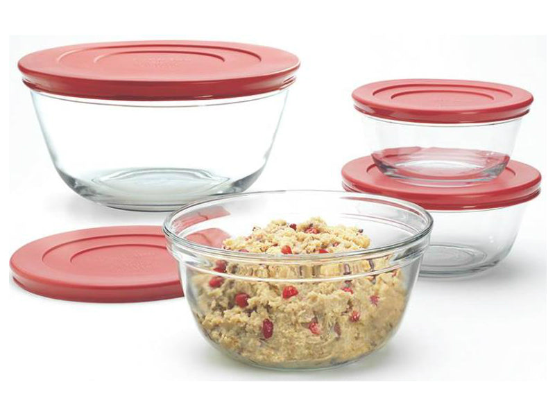 Anchor Hocking 92224 Mixing Bowl Set With Lids, 6 Piece