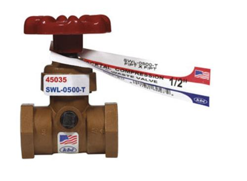 "King Brothers SWL-0500-T Celcon Stop & Waste Valve 1/2""X1/2"" Fpt - Bronze"