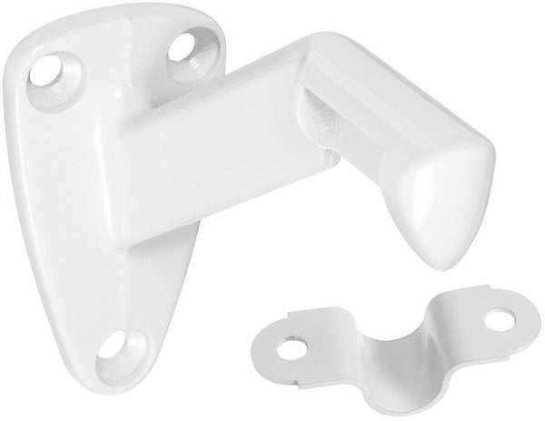 National Hardware N327-627 Handrail Bracket With Strap, Zinc Die Cast, White, 250 Lb