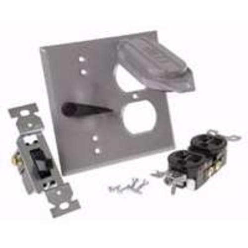 "Bell 5166-5 Weatherproof Duplex Receptacle & Switch Cover, 2 Gang, 4-1/2"" x 4-1/2"""