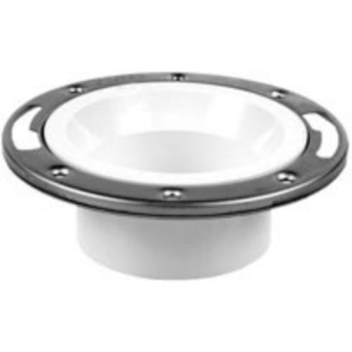 Oatey 43499 PVC Level-Fit Closet Flange w/Stainless Steel Ring, 4""