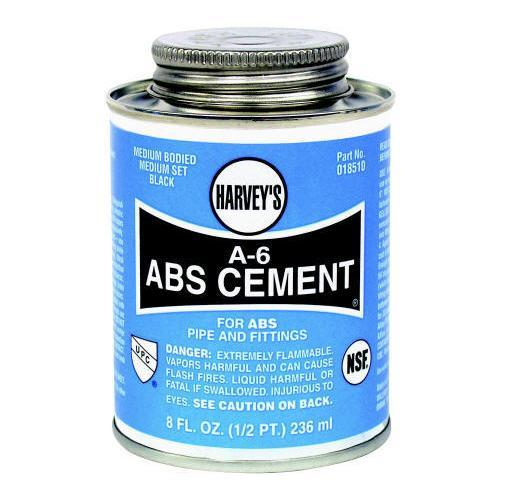"Harvey 018510-24 ""A-6"" Abs Cement 8 Oz. - Black"