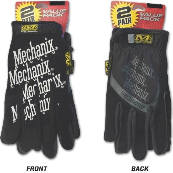 Mechanix Wear MBP-05-010 Original + Fast Fit Mechanic Gloves, Black, Large