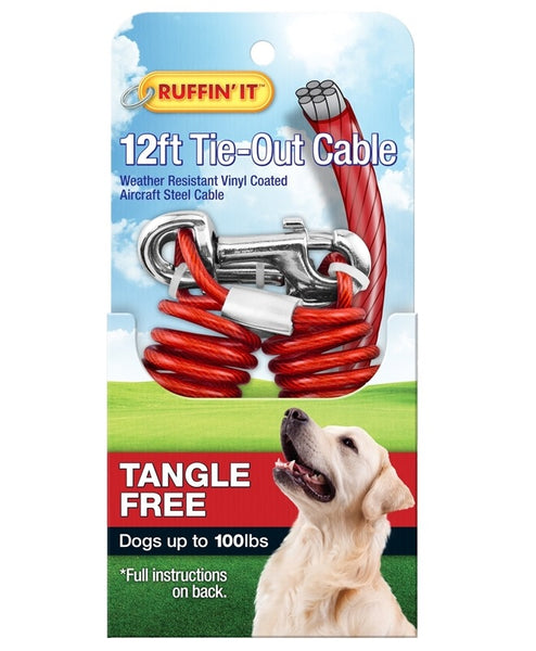 Westminster Pet 7N29712 Ruffin' It Tangle-Resistant Tie-Out Cable, Galvanized Cable, Vinyl-Coated, 12'