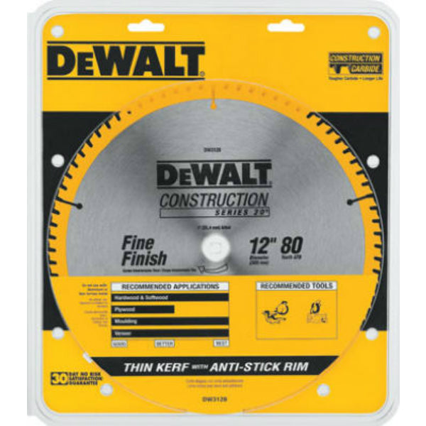 "DeWalt® DW3128 Series 20 Fine Finish Saw Blade, 1"" Arbor, 12"", 80 Teeth"