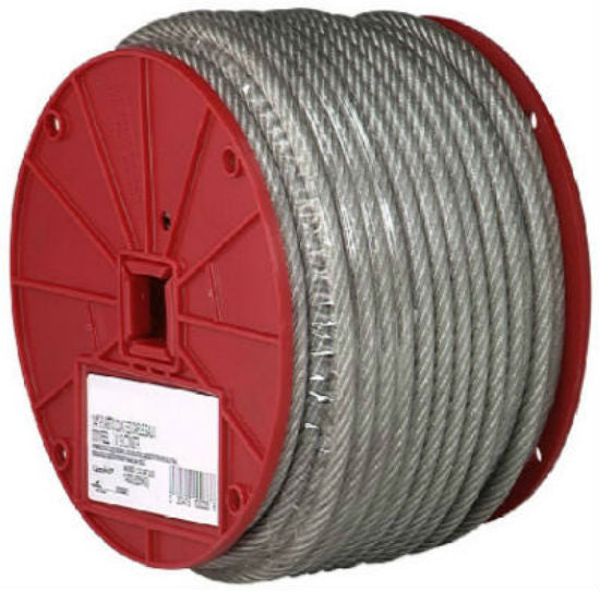 "Campbell® 7000197 Vinyl Coated Cable, Clear, 3/16"" x 250' Reel"