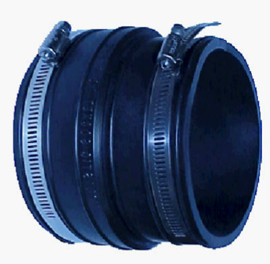 "Fernco® P1001-44 Clay Pipe Flexible Coupling, 4"" x 4"""