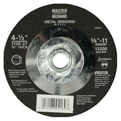 "Master Mechanic 108343 Hubbed Metal Grinding Wheel, 4-1/2"" x 1/4"" x 5/8""-11"