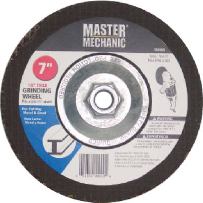 "Master Mechanic 108404 Hubbed Metal Grinding Wheel, 7"" x 1/4"", 5/8""-11 Arbor"