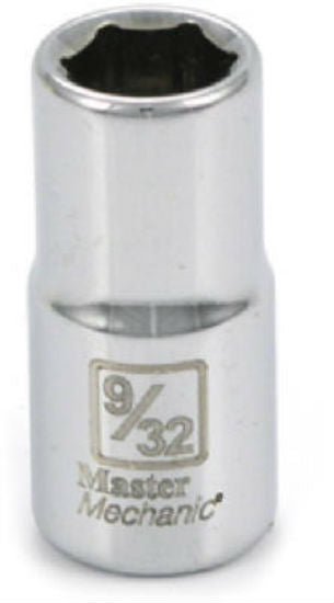 "Master Mechanic 108472 6-Point Shallow Socket, 1/4"" Drive, 9/32"", Steel"