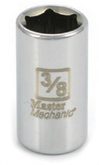 "Master Mechanic 108530 6-Point Shallow Socket, 1/4"" Drive, 3/8"", Steel"
