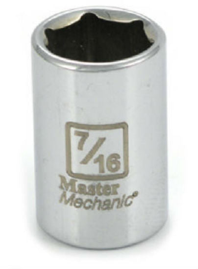 "Master Mechanic 108555 6-Point Shallow Socket, 1/4"" Drive, 7/16"", Steel"