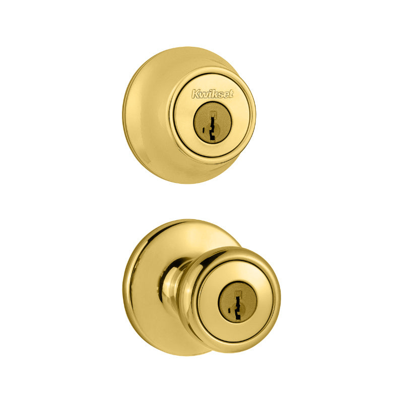 Kwikset® 690T-3-CODE-RCAL-RCS-K6 Tylo Single Cylinder Combo Pack, Polished Brass