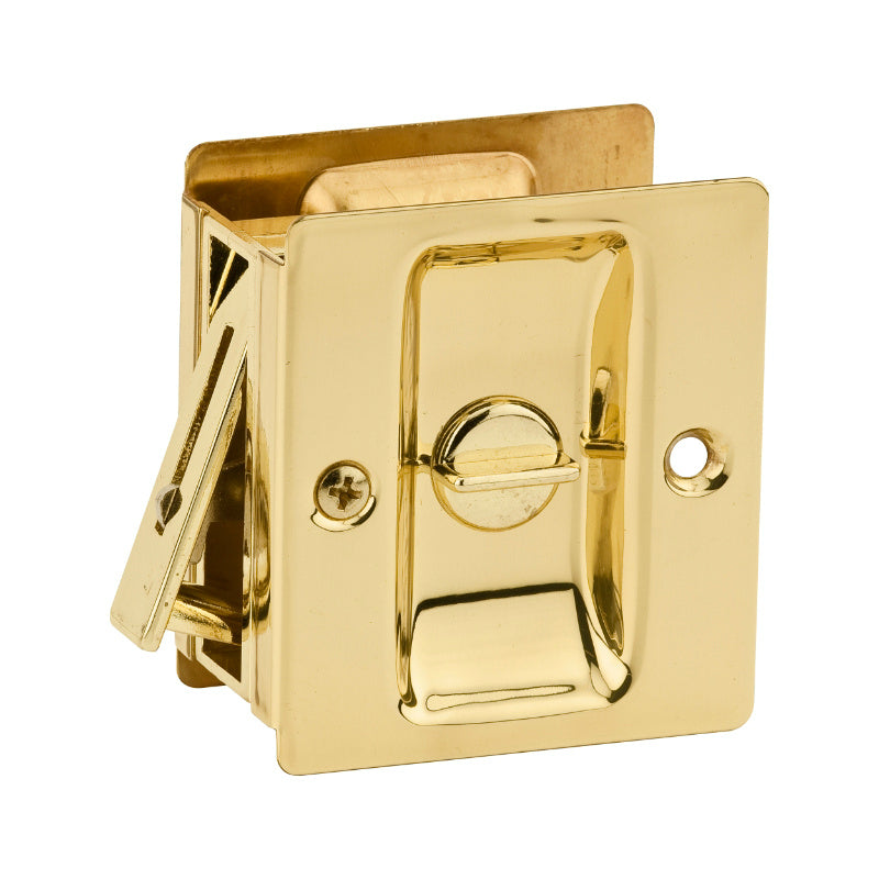 Kwikset® 333-3-CP Privacy Sliding Door Lock, Polished Brass