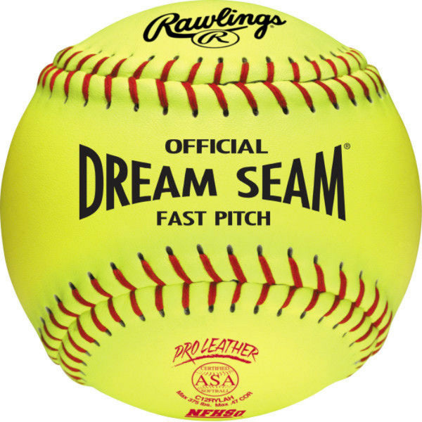 "Rawlings C12RYLAH Official Dream Seam® Fastpitch Softball, 12"", Optic Yellow"