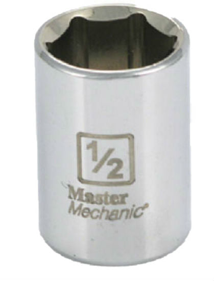 "Master Mechanic 111260 6-Point Shallow Socket, 1/4"" Drive, 1/2"", Steel"