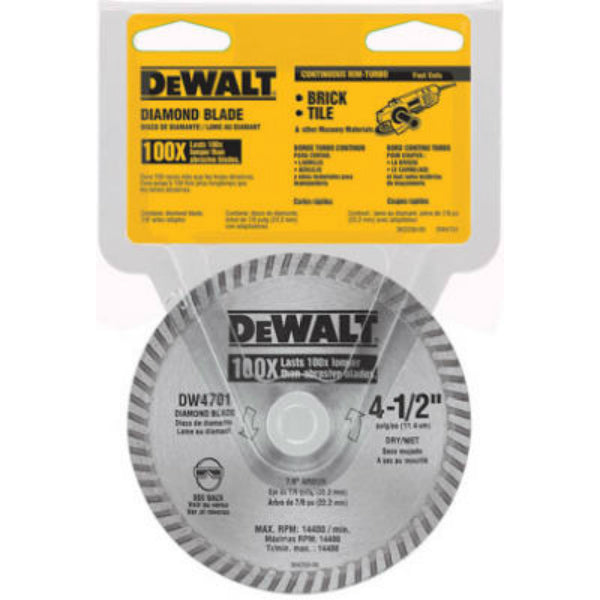 DeWalt® DW4701 XP™ Extended Performance Dry Cut Diamond Wheel, 4-1/2""