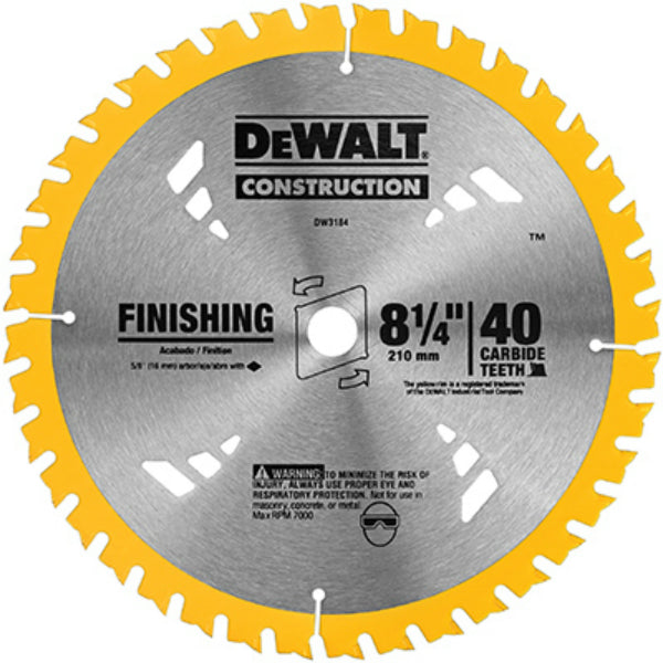 DeWalt® DW3184 Construction Series Circular Saw Blade, 40 Teeth, 8-1/4""