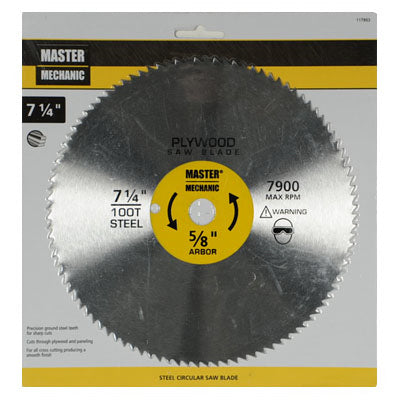 "Master Mechanic 117853 Plywood Circular Saw Blade, 7-1/4"", 100 Teeth"