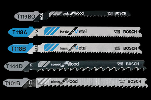 Bosch T500 T-Shank Jig Saw Blade Set for Wood and Metal, 5-Piece