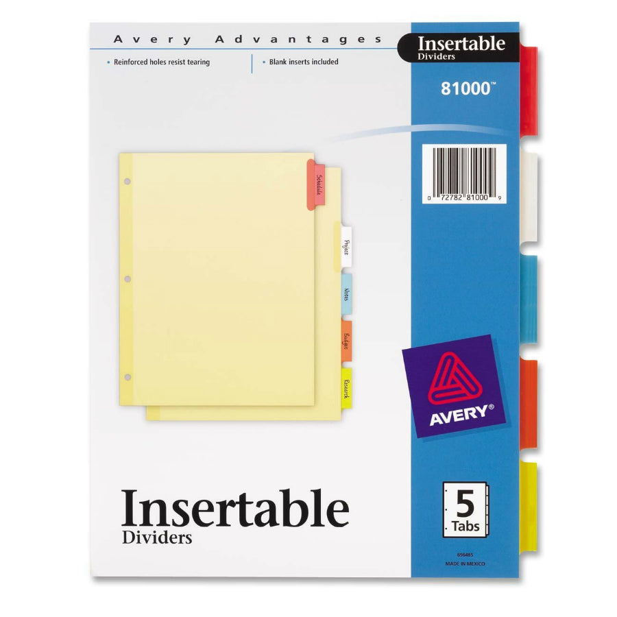 "Avery 81000 Heavy Duty 5 Colored Tab Insertable Divider, 8-1/2"" x 11"""