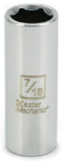 "Master Mechanic 119149 6-Point Deep Well Socket, 3/8"" Drive, 7/16"", Steel"
